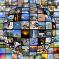 Big Multimedia Video Wall Sphere at tv screens Royalty Free Stock Photo