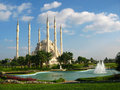 Big muslim mosque with high minarets in the city of Adana, Turkey Royalty Free Stock Photo