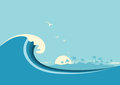 Big ocean wave and tropical island.Vector blue background Royalty Free Stock Photo