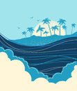 Big ocean waves and tropical island with palms.Vector blue illus