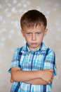 Big offense of little boy is full emotions Stock Photos