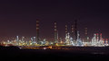 Big oil refinery at night Royalty Free Stock Photo