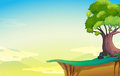 A big old tree near the cliff illustration of Royalty Free Stock Photography