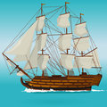 Big old wooden historical sailing boat on blue sea. Royalty Free Stock Photo