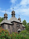Big old wooden orthodox church ukraine pirogovo Royalty Free Stock Image