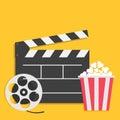 Big open clapper board Movie reel Popcorn Cinema icon set. Flat design style. Yellow background. Royalty Free Stock Photo