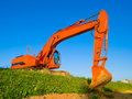 Big orange excavator Stock Photography