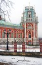 The big palace in tsaritsyno park in moscow vintage street light russia a building made of red bricks decorated by different Royalty Free Stock Photos