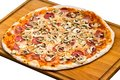 Big Party Pizza salami,mushrooms and vegetable-iso Royalty Free Stock Photos