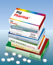 Big pharma medicine a pile of packets named it is a medical fake product which alludes to the danger of false medication vector Royalty Free Stock Images