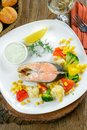 Braised salmon with vegetables