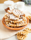 Big pile of of crispy wafers made ​​at home Royalty Free Stock Photos