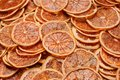 Pile of dried orange citrus circles and candied fruits Royalty Free Stock Photo