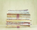 A big pile of magazines closeup, front view Royalty Free Stock Photo