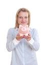 Big pink piggy bank Stock Image