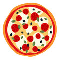 Big Pizza with Cheese & Tomatoes on White