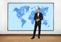 Big plasma with map businessman in office and world Stock Photos