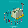 Big profit business success money flat vector isometric Royalty Free Stock Photo
