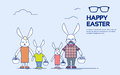 Big Rabbit Family Bunny Holding Basket Happy Easter Holiday Greeting Card Thin Line Royalty Free Stock Photo
