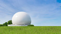 Big radar sphere part of radio communication complex earth stations Royalty Free Stock Photo