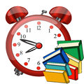 Big red alarm clock , color books, study icon Royalty Free Stock Photo