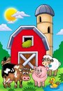 Big red barn with farm animals Royalty Free Stock Image
