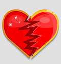 Big red broken heart vector illustration Royalty Free Stock Photo