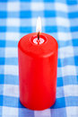 Big red candle burning Royalty Free Stock Photo