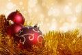 Big Red Christmas Ball On Gold