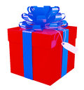 Big red gift box with a blue bow white background Royalty Free Stock Images