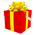 Big red gift box with a yellow bow white background Royalty Free Stock Images