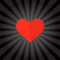 Big red heart on black background . Vector illustration.