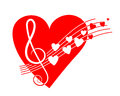 Big red heart with music sign
