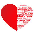 Big red heart with words i love you in all languages of the world Stock Photography