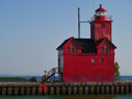 Big red holland harbor lighthouse historic at the state park in michigan Royalty Free Stock Photos