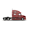 A Big Red Semi Truck Isolated on White 3D Illustration Royalty Free Stock Photo