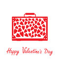 Big red suitcase with hearts isolated happy valentines day car card vector illustration Stock Photography