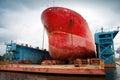 Big red tanker under repairing in floating dock blue Royalty Free Stock Photos