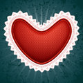 Big red Valentine�s heart with white decoration  Stock Photography