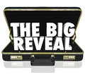 The big reveal opening briefcase revealing mystery inside a black leather with words as a surprise or shocking discovery being Royalty Free Stock Images