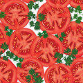 Big ripe red fresh tomato seamless background vegetable pattern texture vector illustration set Stock Photos