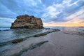 Big rock beach sunset long exposure Royalty Free Stock Photo