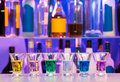 Big row of shots glasses with color drinks Royalty Free Stock Photo