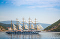 Big sailing ship goes on kotor bay the water of Royalty Free Stock Images