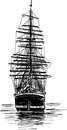 Big sailing ship vector drawing of the ancient vessel Royalty Free Stock Photo