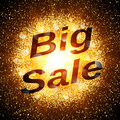 Big sale banner. Abstract explosion with gold glittering elements. Burst of glowing star. Dust firework light effect Royalty Free Stock Photo