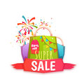Big sale banner with color packet and confetti. Vector illustration