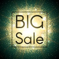 Big sale banner. Explosion with gold glitter. Royalty Free Stock Photo