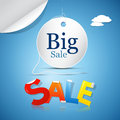 Big sale on blue sky background with clouds Stock Images