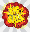 Big sale cartoon explosion pop art style – Royalty Free Stock Photography